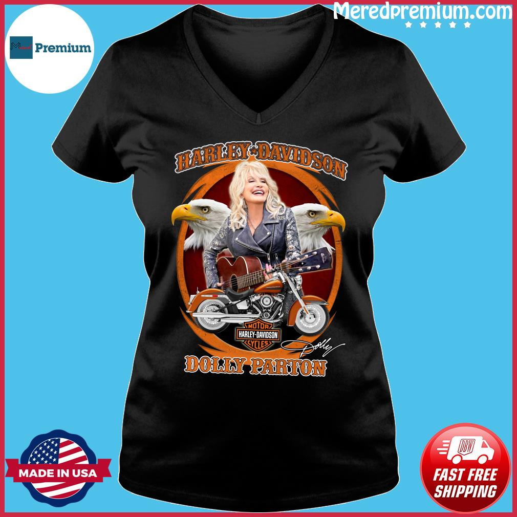 Motor Harley Davidson Cycles Dolly Parton Signature Shirt Ladies V-neck
