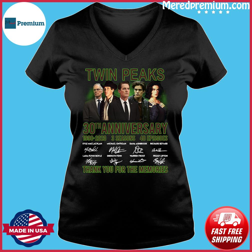 Twin Peaks 30th Anniversary 1990 2020 3 Seasons 48 Episodes Thank You For The Memories Signatures Shirt Ladies V-neck