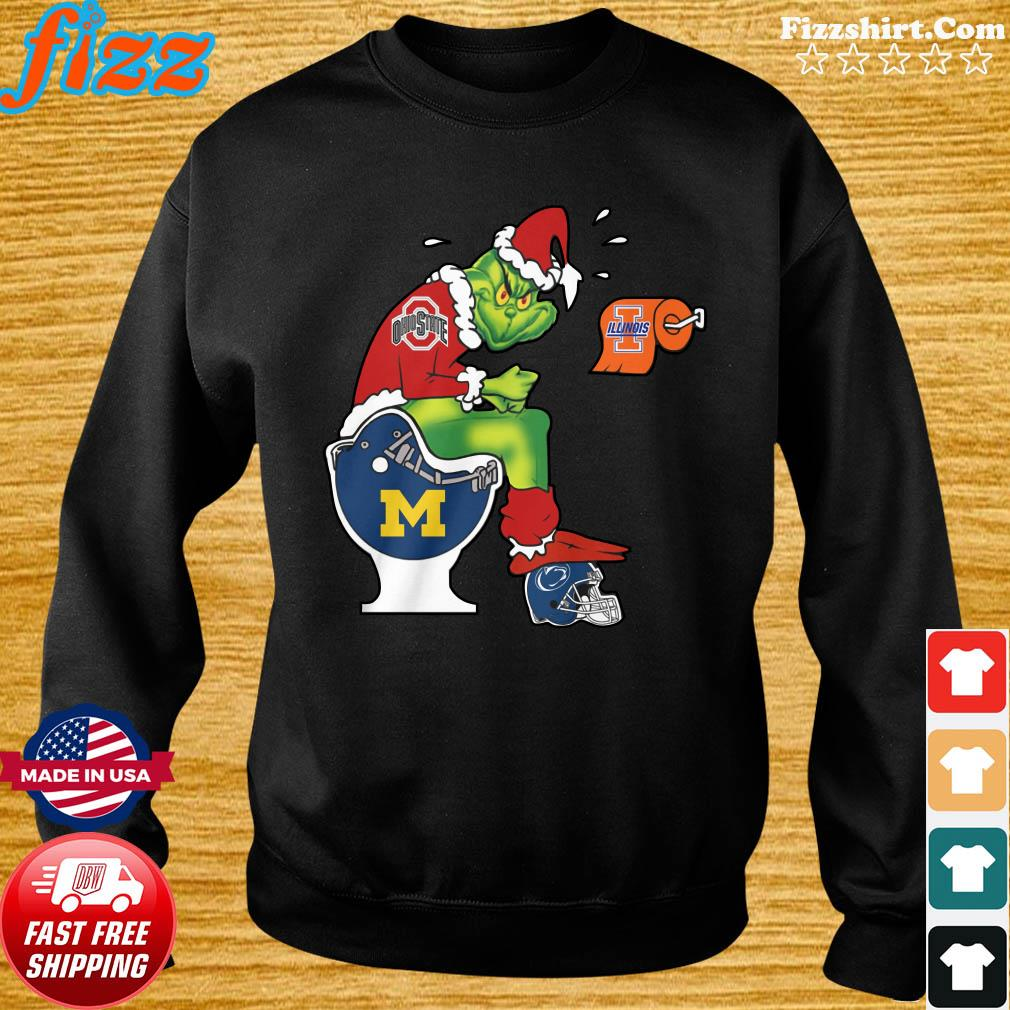 The Grinch Ohio State Buckeys Shit On Toilet Mammoth High School And Other Teams Christmas Sweatshirt
