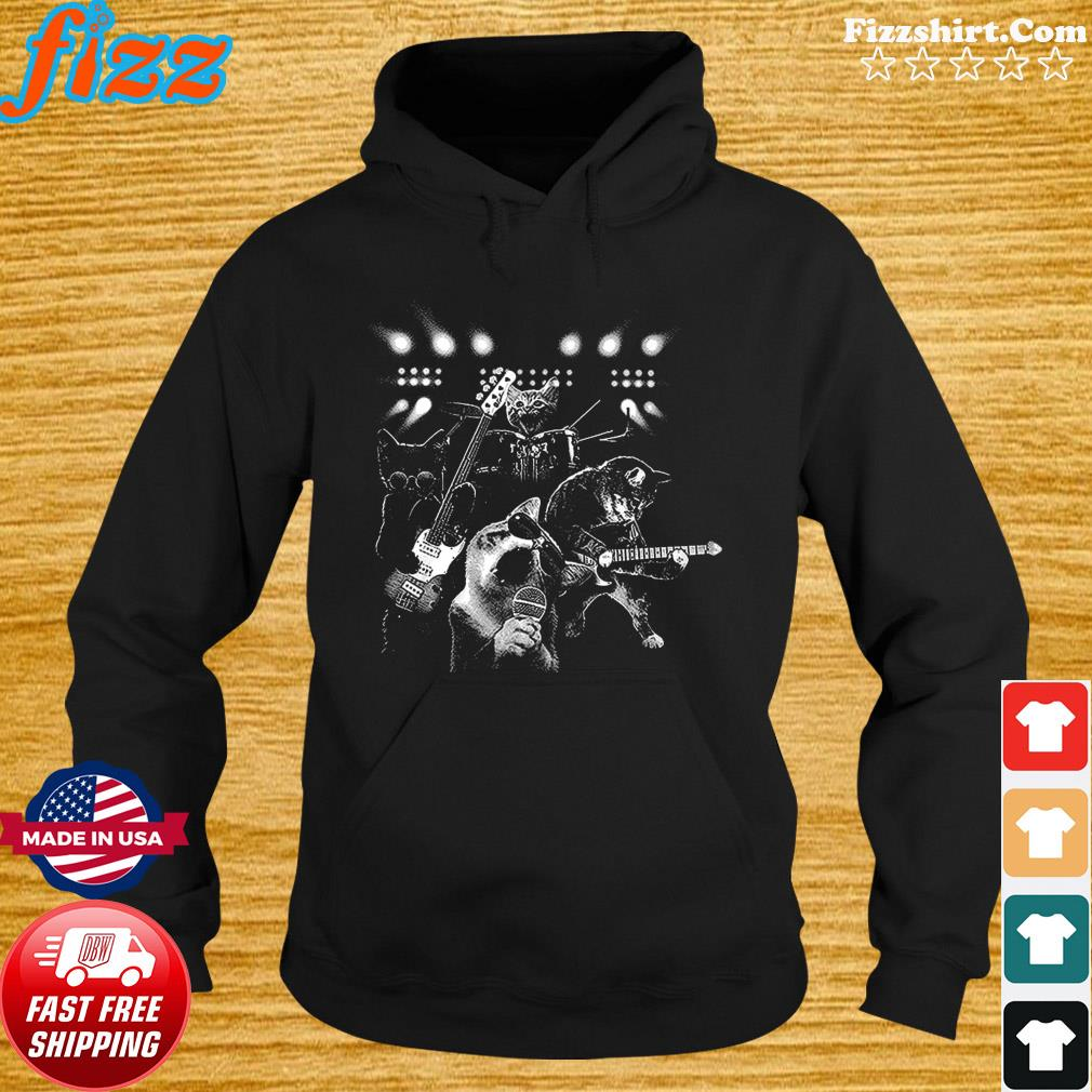 Cats Rock Band And Playing Guitar 2021 Shirt Hoodie