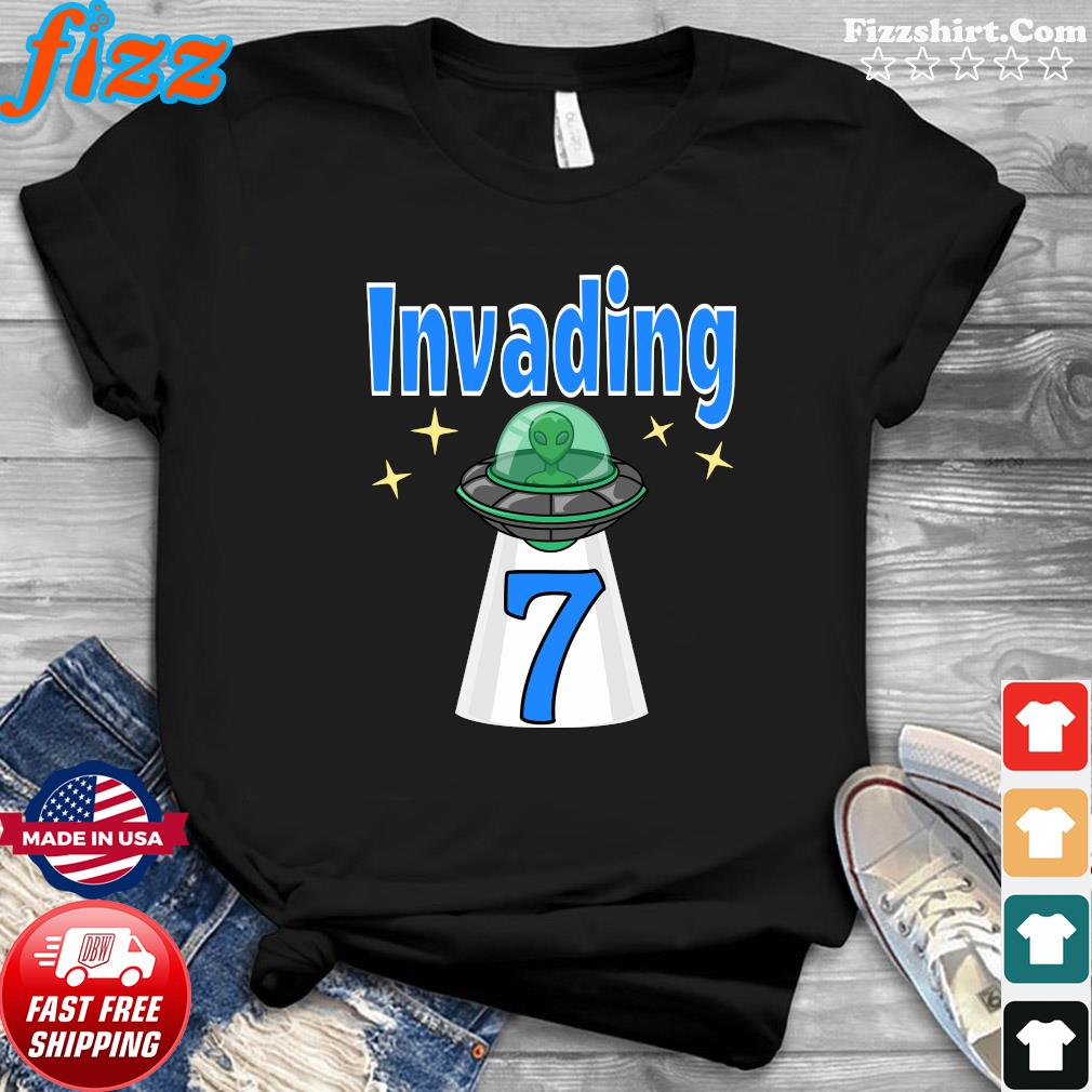 Baby Alien 7th Birthday Invading Shirt